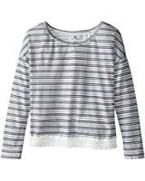 One Step Up Big Girls' Striped Top with Crochet Lace Hem