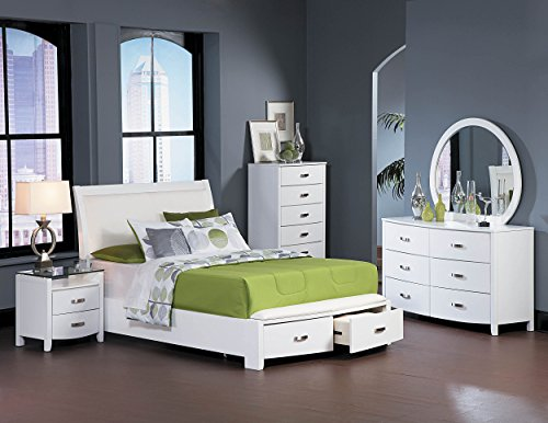 Eastern Home King Elegance Platform - Homelegance Lyric Platform Eastern King Sleigh Bed Frame with Storage Drawers, White
