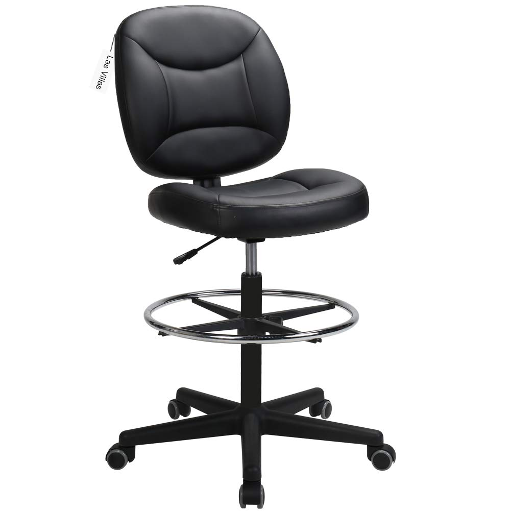 LasVillas Ergonomic PU Leather Mid Back Drafting Chair Executive Office Chair with Adjustable Height, Computer Chair Desk Chair Task Chair Swivel Chair Guest Chair Reception Chairs Black H