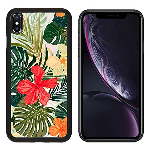 Luxlady Apple iPhone XR Case Aluminum Backplate Bumper Snap Cases ID: 40489664 Summer Colorful Hawaiian Seamless Pattern with Tropical Plants and Hibiscus fl