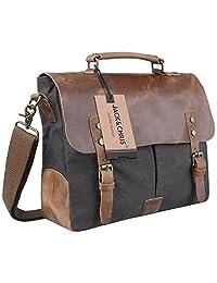 Jack&Chris Men/Women's Vintage Canvas Leather Schoolbag Shoulder Crossbody Messenger Bag, MC6807 (Grey)