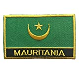 """Mauritania Flag Patch / Embroidered Travel Patch Sew-On by Backwoods Barnaby (Mauritania Iron-On w/ words, 2"""" x 3"""")"""