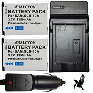 Two Halcyon 1350 mAH Lithium Ion Replacement Battery and Charger Kit for Samsung WB250F Smart Digital Camera and Samsung SLB-10A