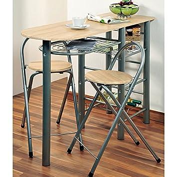 Kesper Küchenbar inklusive 2 Stühlen aus Metall und Eichendekor, 120 ...