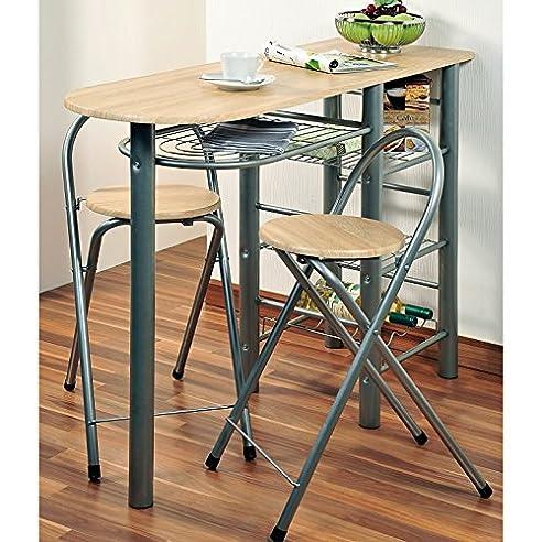 Kesper Küchenbar inklusive 2 Stühlen aus Metall und Eichendekor ...