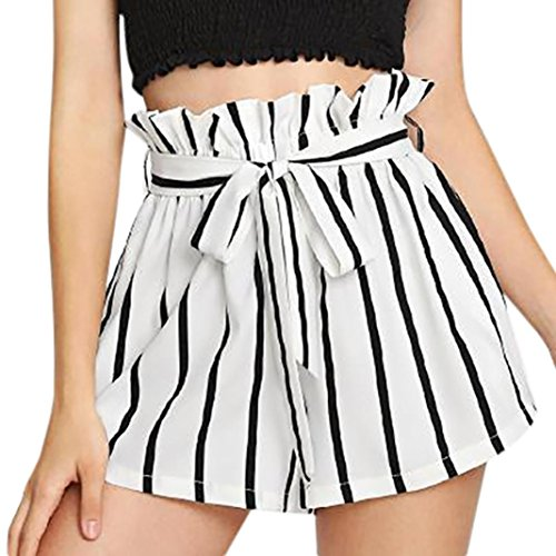 Women Retro Stripe Casual Fit Elastic Waist Pocket Self Tie Short Pants White-1, CN S
