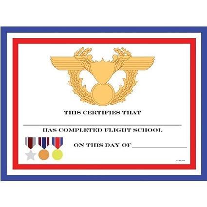 Amazon.com: Fighter Pilot Party Favors- Flight School Certificates ...