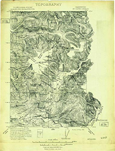 - YellowMaps Mt Baker WA topo map, 1:250000 Scale, 30 X 30 Minute, Historical, 1909, Updated 1915, 11.4 x 8.7 in - Tyvek