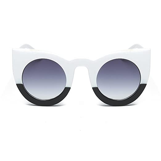 5e5a6ecd1e Armear Retro Cat Eye Sunglasses Round Lens Thick Frame (Black and white
