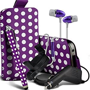 Nokia Lumia 610 Premium Protective Polka PU Leather Pull Tab Cord Slip In Pouch Pocket Skin Cover Quick Release Case, Premium Quality in Ear Buds Stereo Hands Free Headphones Headset with Built in Microphone Mic & On-Off Button, Large Sylus Pen, 12v Micro Car Charger & 360 Rotating Carholder Car Mount Purple & White by Spyrox