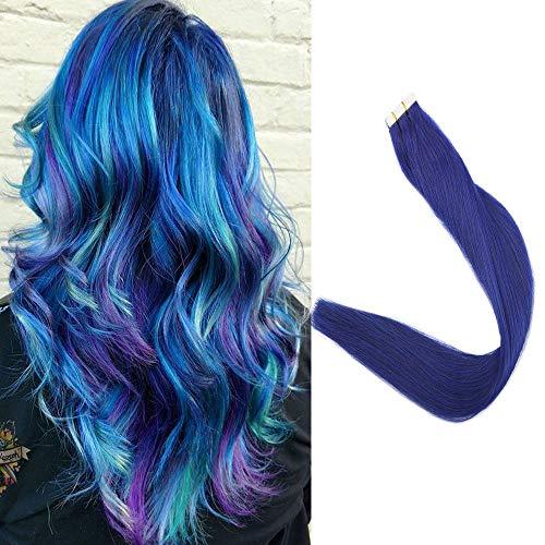 Full Shine Blue Tape Hair Extensions 16