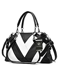 Women Fashion Handbags, S.Charma Leather Top-Handle Shoulder Bags Purse Cross Body Bags with Zipper for Ladies