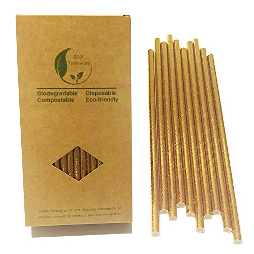 Sparking Plain Gold Party Paper Straws, Stamping Golden Metallic Foil Drinking Straws, Gold Party Décor (100PCS) ()