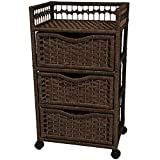 Oriental Furniture 31'' Natural Fiber Chest of Drawers on Wheels - Mocha