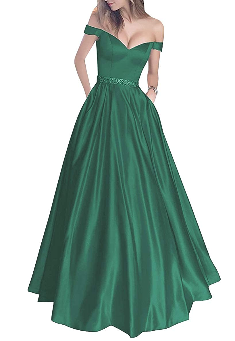 Dark Green MorySong Women's Off Shoulder Long Prom Dress with Pockets Beading Evening Gown