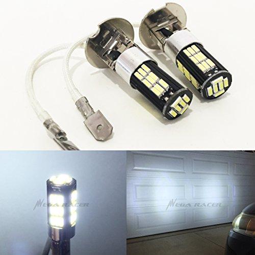 Mega Racer H3 (Fog Light) Bright Chip LED 42-SMD Canbus Hyper Cool White 6000K Headlight Bulb 12V Stock OEM Xenon Lamp ()
