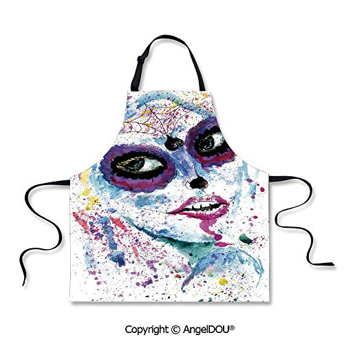 (SCOXIXI Adult Kitchen Dinner Party Cooking Apron Grunge Halloween Lady with Sugar Skull Make Up Creepy Dead Face Gothic Woman Artsy for Indoor Outdoor Waterproof)