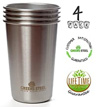 #1 Premium Stainless Steel Cups 16oz Pint Cup Tumbler (4 Pack) By Greens Steel - Premium Metal Drinking Glasses - Stackable Durable Cup
