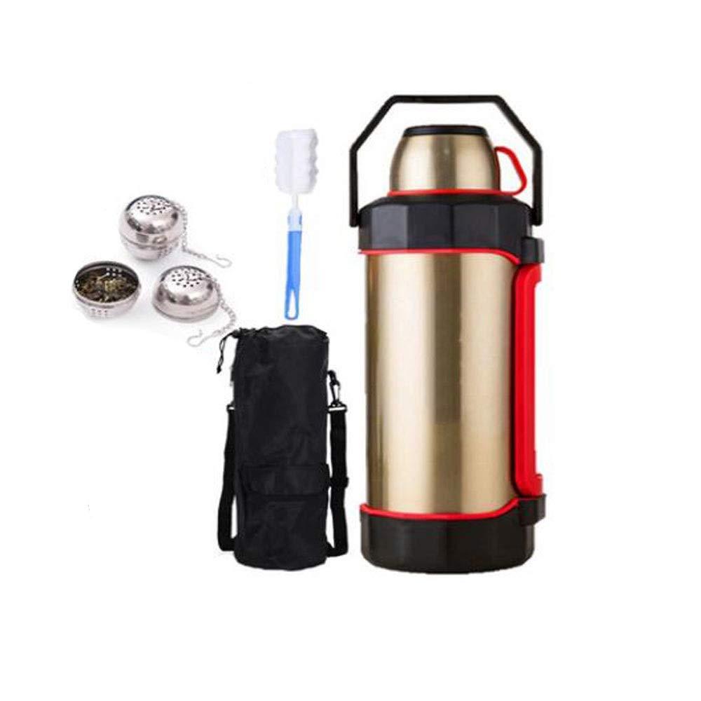 GUYUEXUAN 魔法瓶、5.2リットルの大容量断熱ポット - 屋外旅行ポータブル車の大型魔法瓶 - ステンレス鋼のやかん スチールカラー (Color : ゴールド, Size : 5.2L) ゴールド 5.2L