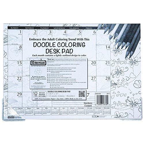 - House of Doolittle 2017 Monthly Desk Pad Calendar, Doodle Black & White, 18.5 x 13