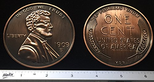 """REPLICA 1909 S VDB Lincoln Wheat Penny or Cent. Big Huge Large 3"""" Metal Coin"""