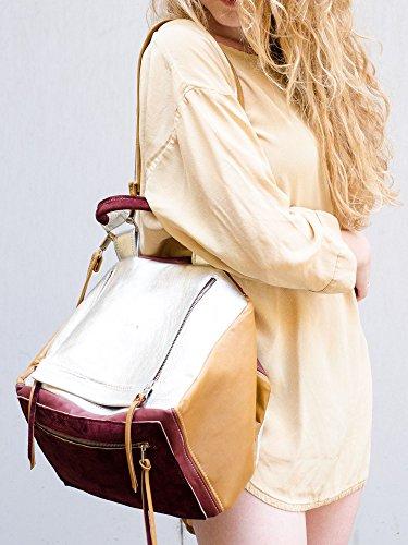 Double Trouble - Bolso mochila  de Piel para mujer Beige beige, silver, purple