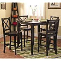 Simple Living Counter Height 5-piece Dining Set Table and Chair Set X-Back Stools Black