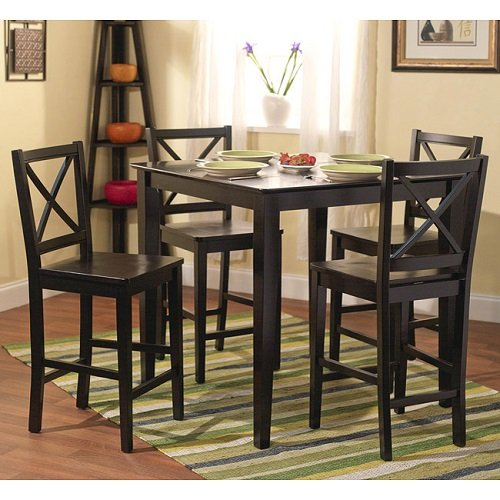 Simple Living Cross Back Counter Height 5-Piece Table and Chair Set Black Painted