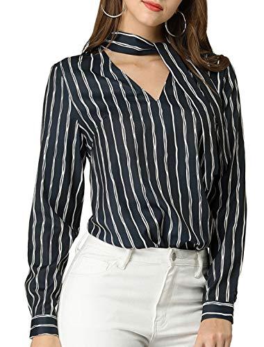 Allegra K Women's Tie V Neck Striped Pattern Long Sleeves Shirt Smart Casual Lady Blouse Tops L Dark Blue