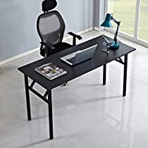 DlandHome Folding Computer Desk Large No Install Needed Folding Table/Workstation for Home Office, AC5&AC11