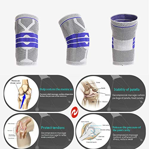 Knee Brace Compression Sleeve, Elastic Knee Wraps Patella Stabilizer with Silicone Gel Spring Support, Hinged Kneepads Protector for Meniscus Tear Arthritis Running Men Women 2 Pack(Small)