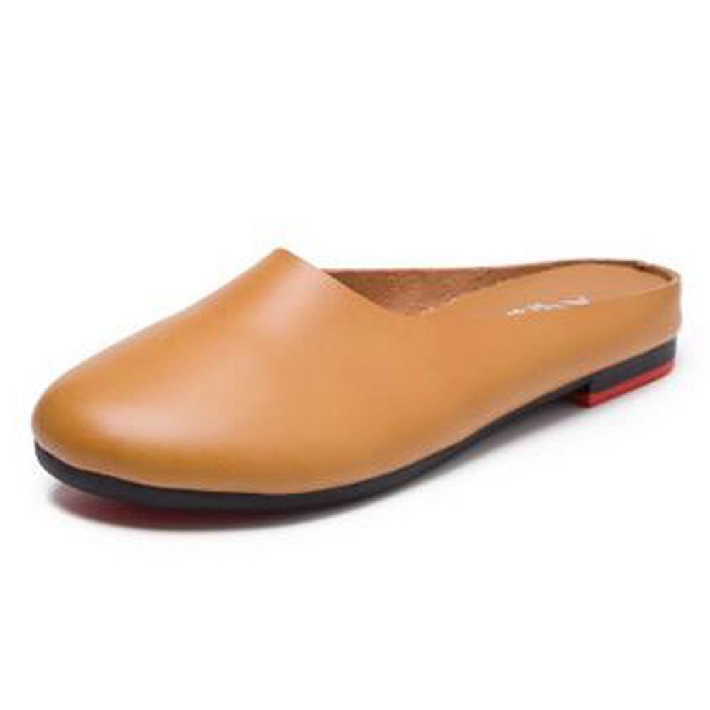 SUNROLAN SLL-SS-8809-tuose-41 Women's Leather Casual Slip-On Outdoor Scuff Backless Slipper Mule Loafer Flats Shoes US9