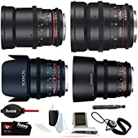 ROKINON CINE DS Cinema Lenses + Accessory Bundle – 50mm, 35mm, 85mm, 24mm (MFT)