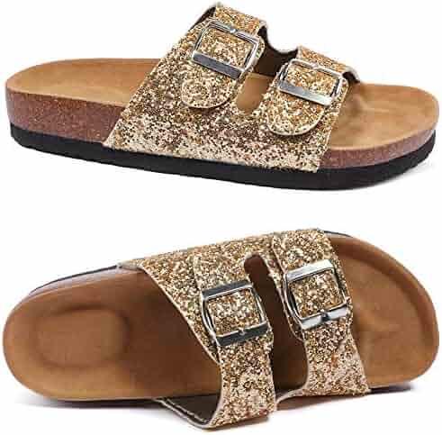 aa55749baab UBELLA Girl s Glitter Thong Slip On Casual Open Toe Buckle 2 Strap Slide  Sandals (Little