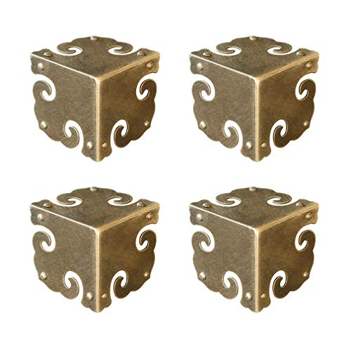 Tiazza 4Pcs Vintage Pure Brass Corner Protectors Antique Hardware Desk Edge Wooden Jewelry Gift Box Cabinet Three Sides Full Encase Corner Guard (Antique Bronze) ()