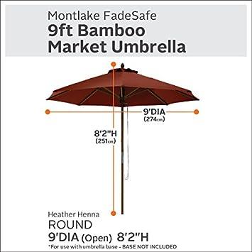 Classic Accessories Montlake FadeSafe 9-Foot Round Bamboo Patio Umbrella, Heather Henna