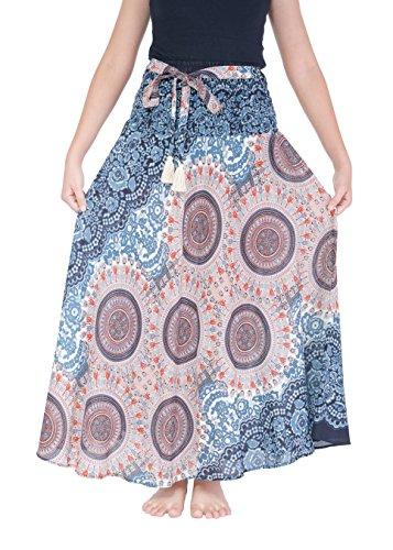 Lannaclothesdesign Women's Long Maxi Skirt Bohemian Gypsy Hippie Style Clothing (US Size 0-16, Black White Rose) ()