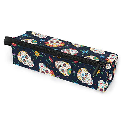 Mexican Sugar Skull Portable Eyeglasses Case Soft Box for Women Girls and Kids Zipper Sunglasses Holder, Day of The Dead Flowers Pencil Cosmetic Bags -
