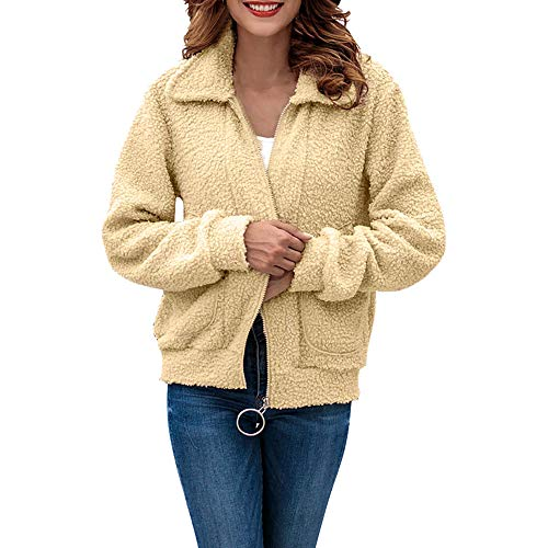 UFACE Women Casual Fur Turn-Down Plush Coat Outwear Long Sleeve Zipper Cardigan ()
