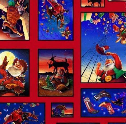 Santa Sampler (Elizabeth Studio 'Cowboy Santa' Sampler Christmas on Cotton Fabric By the Yard)