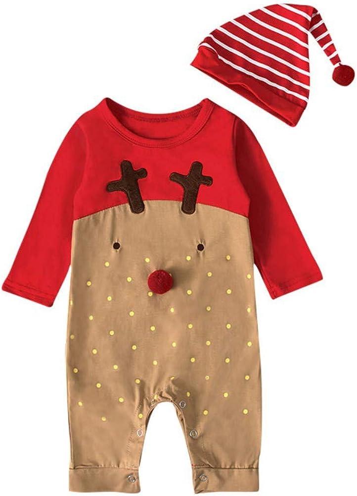 Miyanuby Beb/é Ni/ña Ropa de Navidad con Sombrero Rayas Jersey de Manga Larga Cuello Redondo Peleles Body de Mameluco