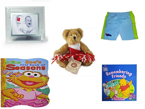 Children's Gift Bundle - Ages 0-2 [5 Piece] Includes: Russ Berrie Small Blessings Christening Glass Photo Frame, Pink, Circo Infant Swim Shorts Hibiscus Size L 24 Months 22-25 lbs, Boyds' Bears 8'' B by Secure-Order-Marketplace Gift Bundles