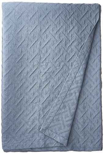 Natural Comfort Matelassé Blanket Coverlet, Queen, Maze/Water Blue (Maze Blue)