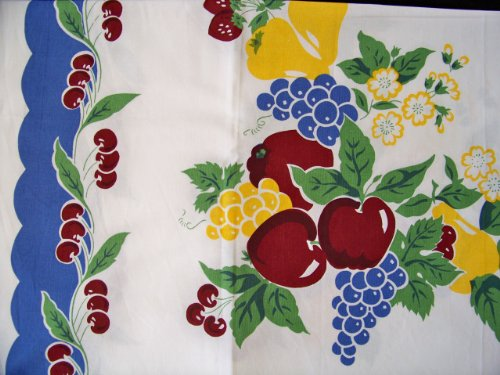 (Vintage Cherries Tablecloth Cotton with Blue Border)