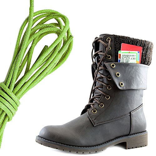 DailyShoes Womens Military Lace Up Buckle Combat Boots Ankle Mid Calf Fold-Down Exclusive Credit Card Pocket, Lime Green Brown Pu