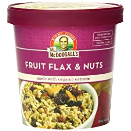 Dr. McDougall's Right Foods Stay Full Organic Fruit Flax and Nuts Oatmeal, 2.7 Ounce Cups (Pack of 6) Vegan, USDA Organic, Whole Grain, Non-GMO; Paper Cups From Certified Sustainably-Managed Forests 5 ORGANIC OATMEAL CUPS: Our Stay Full organic oatmeal cups have generous portions of organic oats, fruits, nuts, flax, & chia seeds. A filling source of fiber & ALA-Omega-3, tastes great with or without the sugar packet and has 9g of protein per serving. STAY FULL WITH DR MCDOUGALL'S OATMEAL: Our instant oatmeal keeps you fuller longer, with more protein, more fiber, and 33-50% more food than competing instant oatmeals. Customizable sugar packet inside, so you decide how sweet your breakfast will be. JUST ADD HOT LIQUID AND SERVE: It doesn't get any more convenient than Dr McDougall's instant breakfast cups! Add hot water or your favorite plant-based milk and serve for a delicious, satisfying vegan meal that supports your healthy, busy lifestyle.