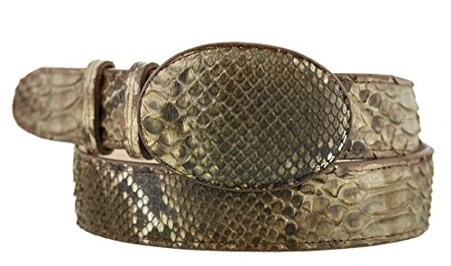 Brown Snake Genuine Belt (El Presidente - All Genuine { Brown} Snake Skin Exotic Belt Round Buckle)