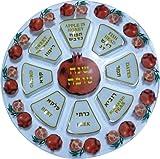 Art Judaica Painted Glass Rosh Hashanah Seder Plate with Pomegranate Decorative Design