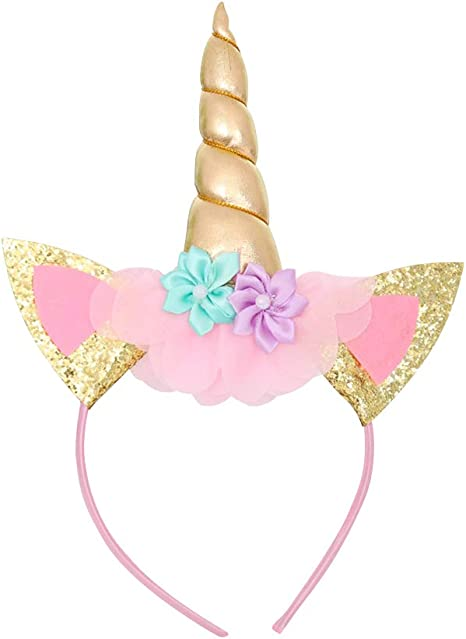 Unicorn Headband Gold Horn Headband Ears Photo Props Girl Birthday Outfit Cheeks Gold Glitter Horn Headband Flowers Headwear Accessory for Party Decoration Cosplay Costume