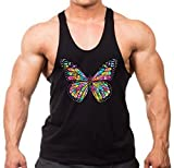 Men's Neon Stained Glass Butterfly Tee Black Stringer Tank Top X-Large Black